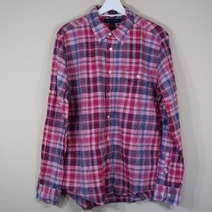 Plaid Pink Long-Sleeve Casual Button-Up Shirt
